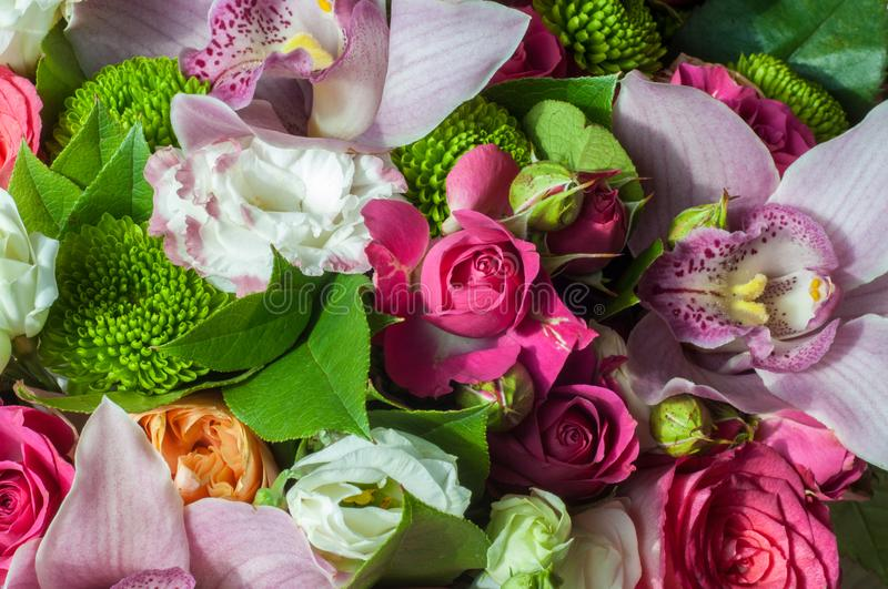 Gaussian blur is convenient for designers Beautiful bouquet of flowers ready for the big wedding. Ceremony royalty free stock image