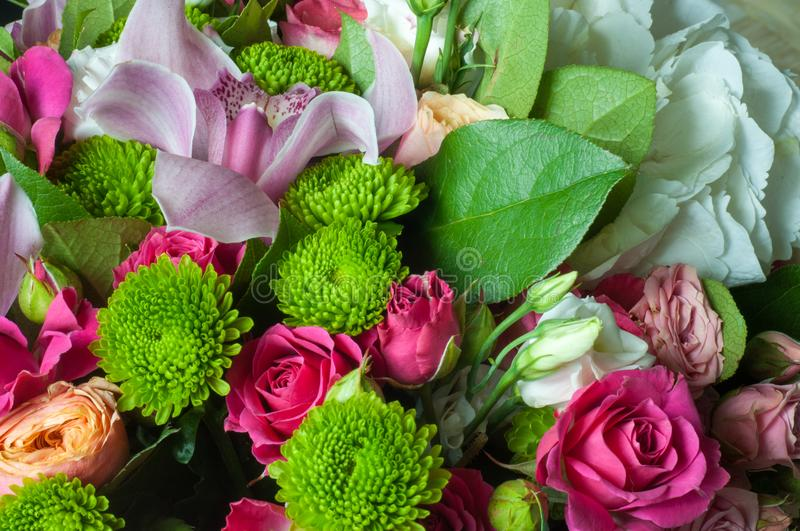 Gaussian blur is convenient for designers. Beautiful bouquet of flowers ready for the big wedding ceremony royalty free stock photo