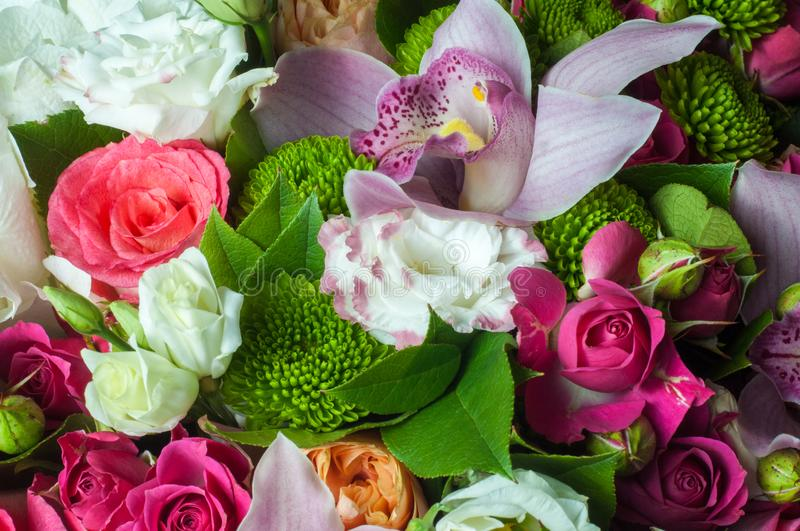 Gaussian blur is convenient for designers. Beautiful bouquet of flowers ready for the big wedding ceremony royalty free stock photography