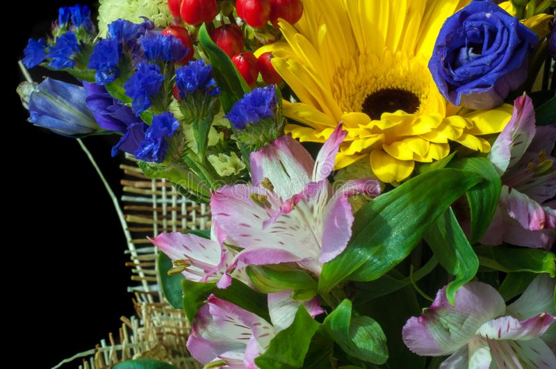 Gaussian blur is convenient for designers. Beautiful bouquet of flowers ready for the big wedding ceremony stock image