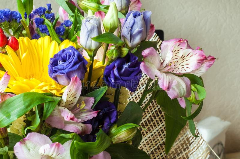 Gaussian blur is convenient for designers. Beautiful bouquet of flowers ready for the big wedding ceremony royalty free stock photos