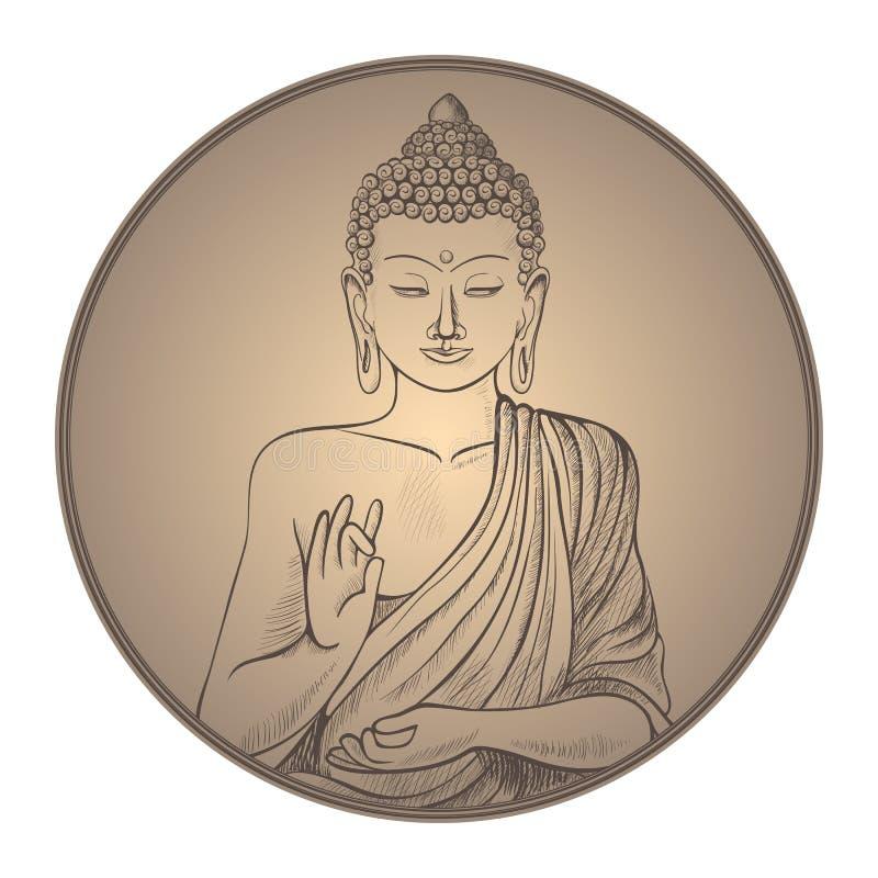 Gautama buddha with closed eyes in frame vector illustration royalty free illustration