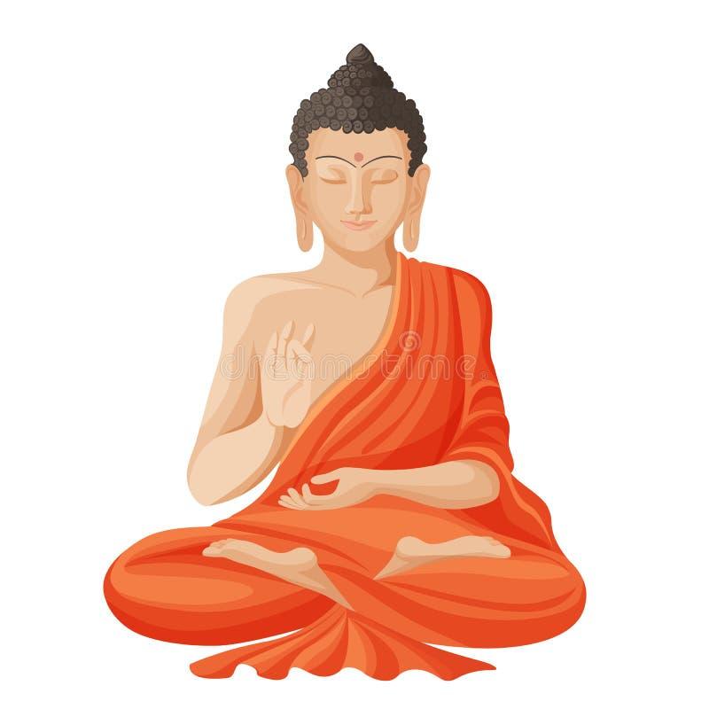 Gautama buddha with raised right hand on vector illustration vector illustration