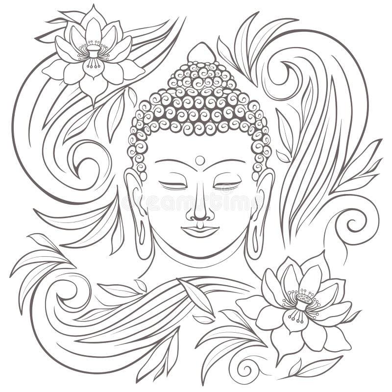 Gautama Buddha mit geschlossenen Augen und Blumenmustervektorillustration vektor abbildung