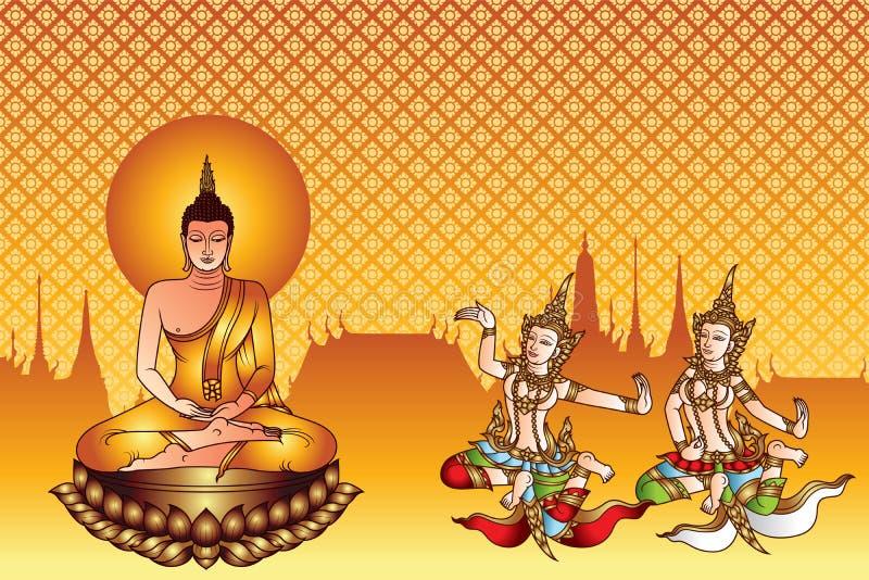 Gautama van Boedha Siddhartha op lotusbloem en tweelingengel en tempel vector illustratie