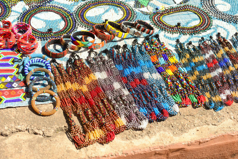 Gauteng, Lesedi Cultural Village. South Africa - 12 March, 2016. Beautiful handmade bead work done by royalty free stock photo