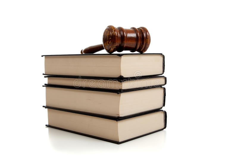 gavel βιβλίων κορυφή στοιβών νόμ στοκ φωτογραφία