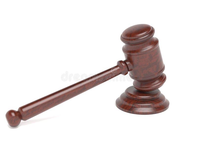 gavel Δικαστήριο νόμου ή εξάρτημα Οίκων Δημοπρασιών δίνοντας απεικόνιση που απομονώνεται τρισδιάστατη διανυσματική απεικόνιση