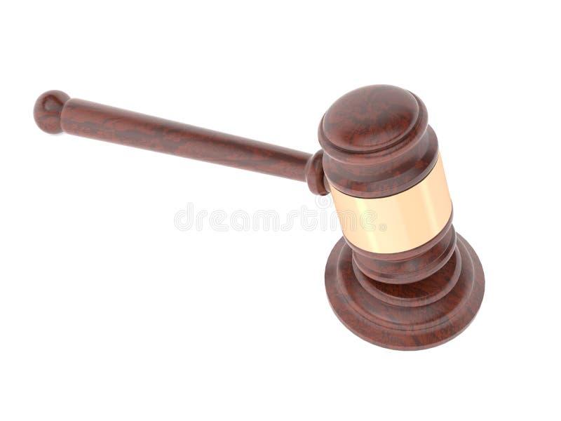 gavel Δικαστήριο νόμου ή εξάρτημα Οίκων Δημοπρασιών δίνοντας απεικόνιση που απομονώνεται τρισδιάστατη ελεύθερη απεικόνιση δικαιώματος
