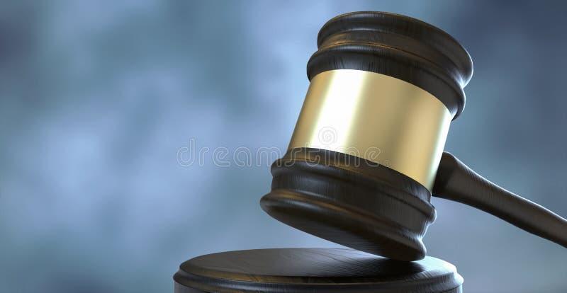 Gavel δικαστών και δραματικό νεφελώδες υπόβαθρο ουρανού διανυσματική απεικόνιση