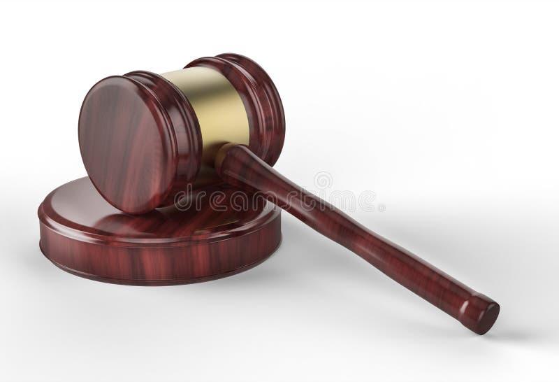 Gavel δικαστών στο άσπρο υπόβαθρο διανυσματική απεικόνιση