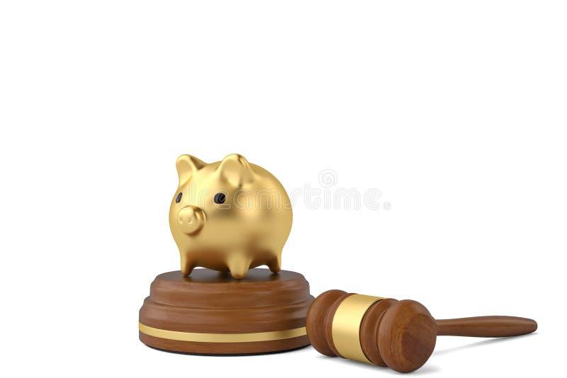 Gavel με τη piggy τράπεζα στο άσπρο υπόβαθρο τρισδιάστατη απεικόνιση ελεύθερη απεικόνιση δικαιώματος