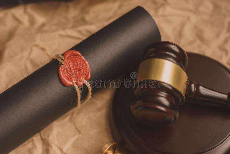 Gavel νόμου στο δικαστήριο Έννοια δικαιοσύνης νομικών συστημάτων στοκ εικόνες