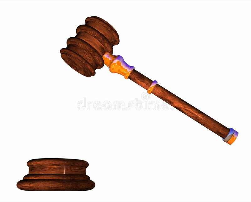 Gavel. Computer-generated graphic depicting a gavel (concept: justice or law vector illustration