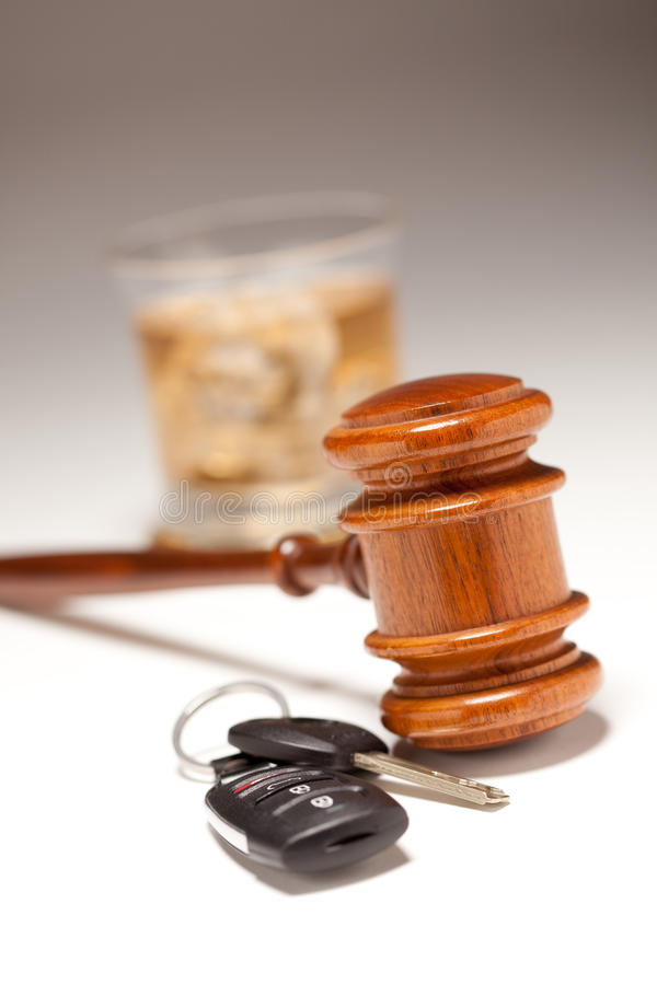 Gavel, Alcoholic Drink & Car Keys royalty free stock images