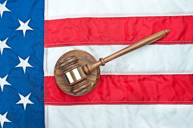 Gavel on American flag stock image