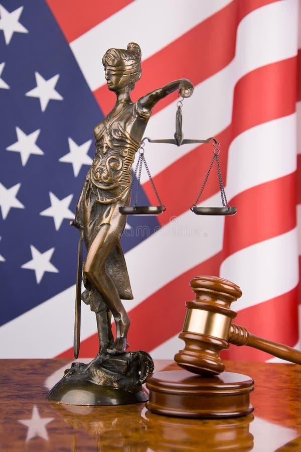 Gavel and american flag. Symbol for jurisdiction stock photos