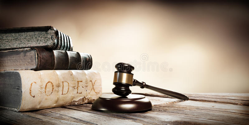 Gavel And Ancient Books stock image