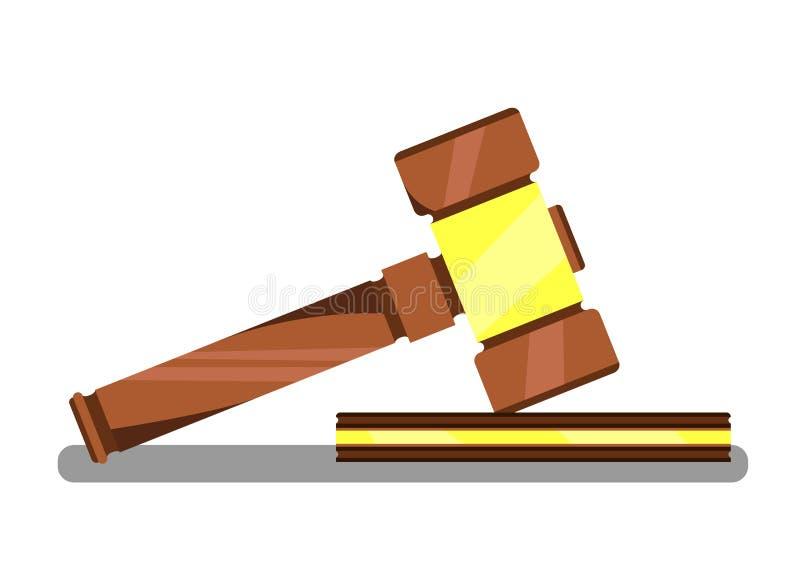Gavel for Auction or Hammer for Judge in Court. Gavel for Auction Banner Vector Illustration. Wooden judge ceremonial hammer of chairman for adjudication of stock illustration
