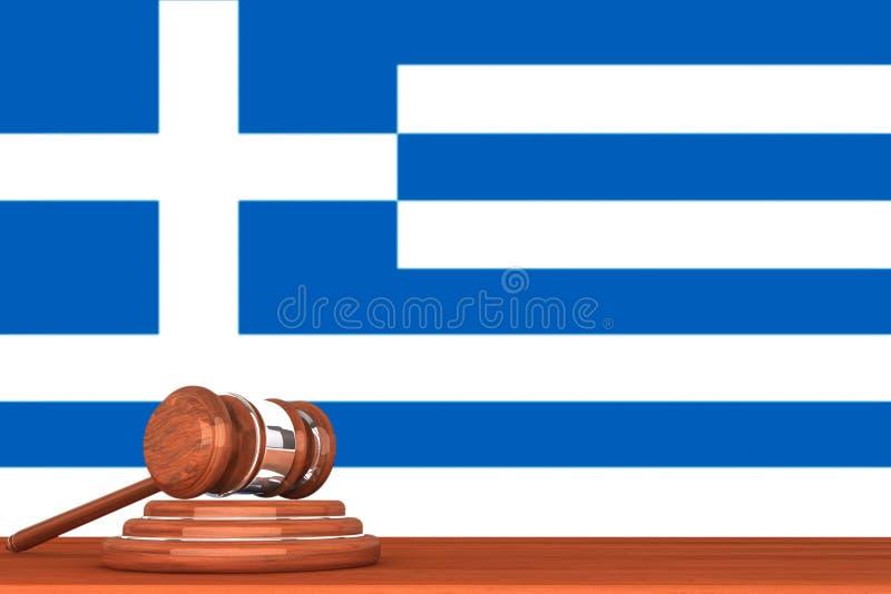 Gavel avec l'indicateur de la Grèce photos stock