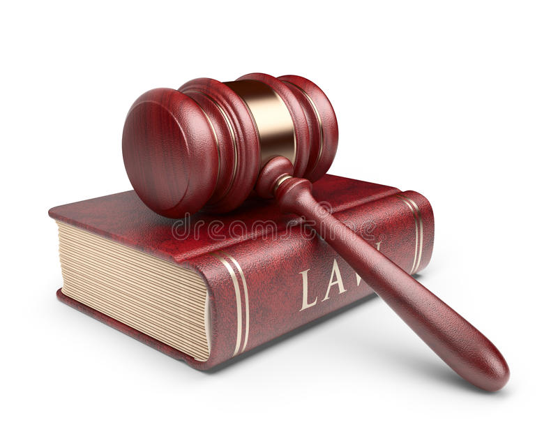 Gavel With Book. LAW Concept. 3D Icon Royalty Free Stock Photo