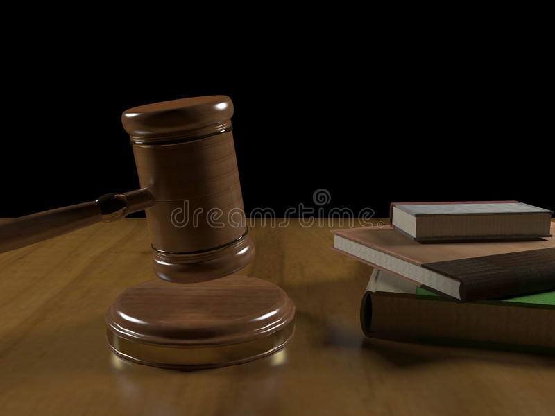 Gavel and books stock photography