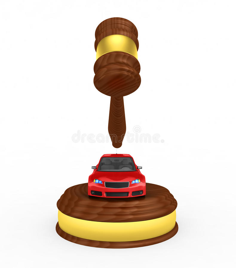 Gavel And Car - 3d Render Royalty Free Stock Images