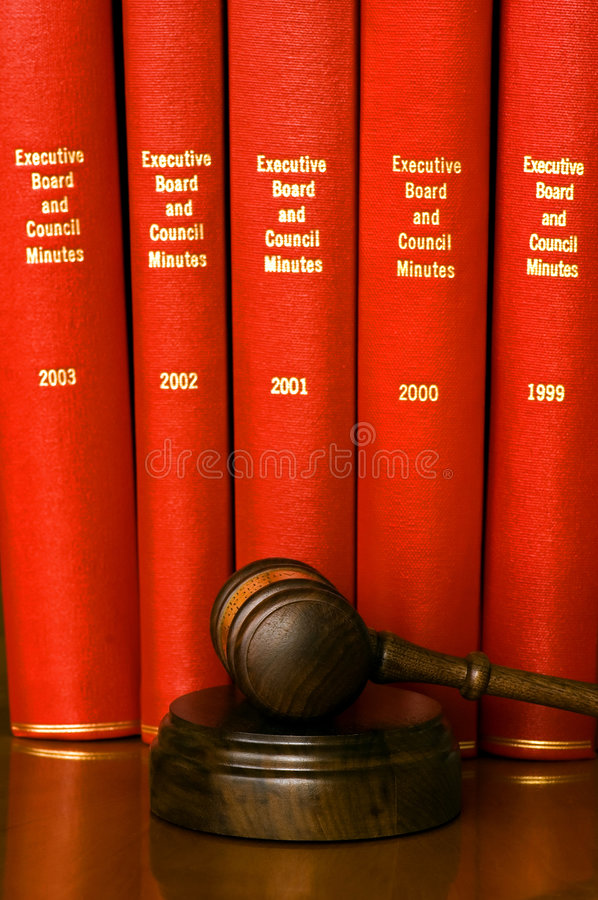 Gavel and company records stock image
