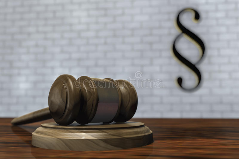 A gavel in a courtroom. 3d rendering royalty free illustration