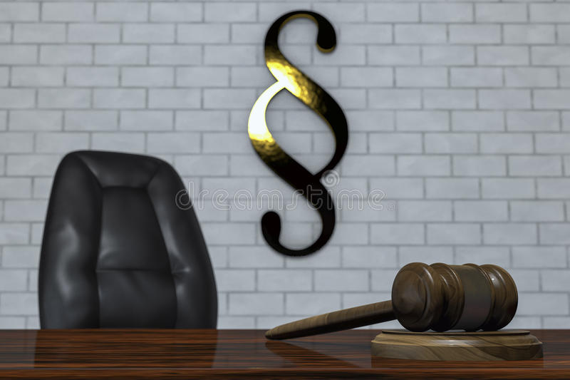 A gavel in a courtroom. 3d rendering vector illustration