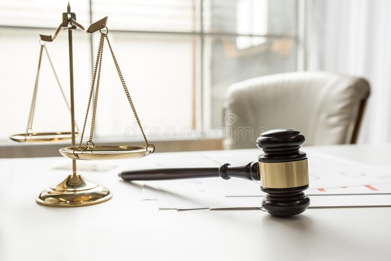 Gavel in courtroom working office of lawyer stock photos