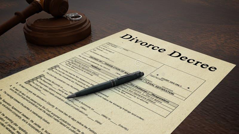 Gavel Divorce Paper Decree Right stock illustration