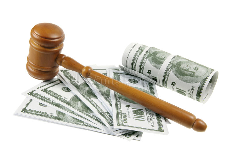 Gavel and Dollar Notes royalty free stock image
