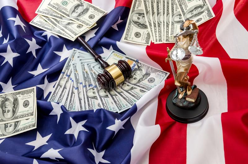 Gavel and dollars on usa flag. Background royalty free stock photo