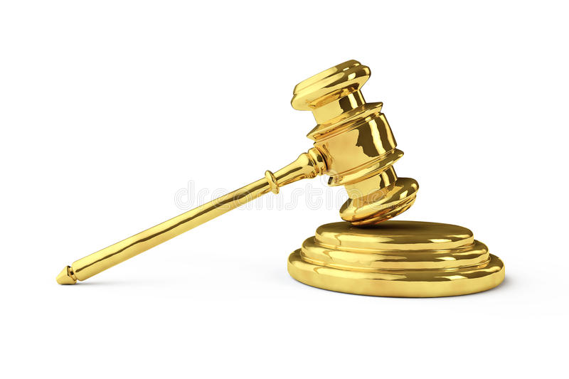 Gavel dourado de justiça ilustração royalty free