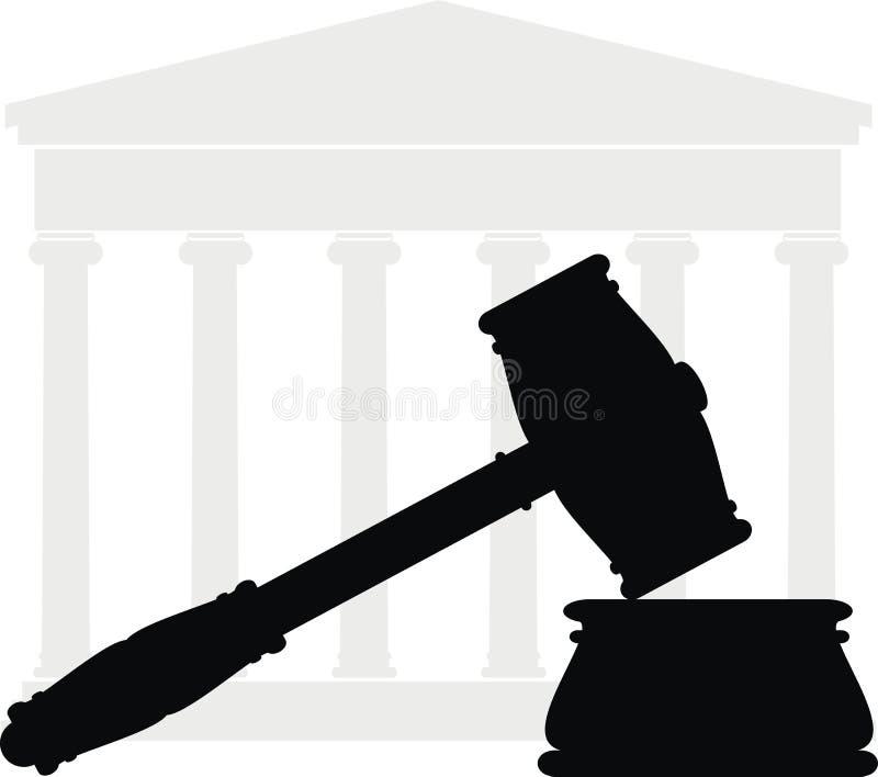 Gavel et cour - symboles de loi illustration stock