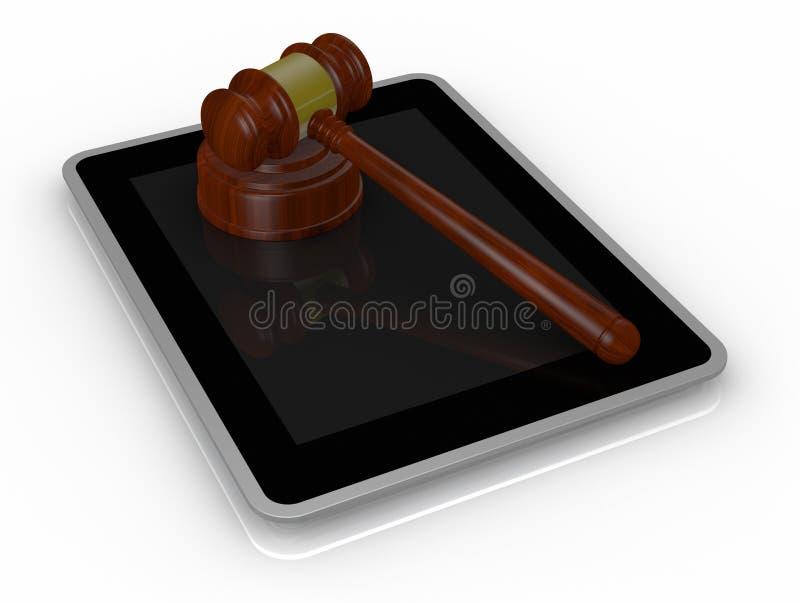 Gavel et PC de tablette illustration libre de droits