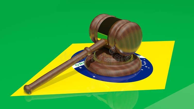 Gavel on the flag of Brazil stock illustration