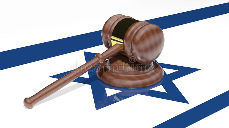 Gavel On The Flag Of Israel Royalty Free Stock Photos