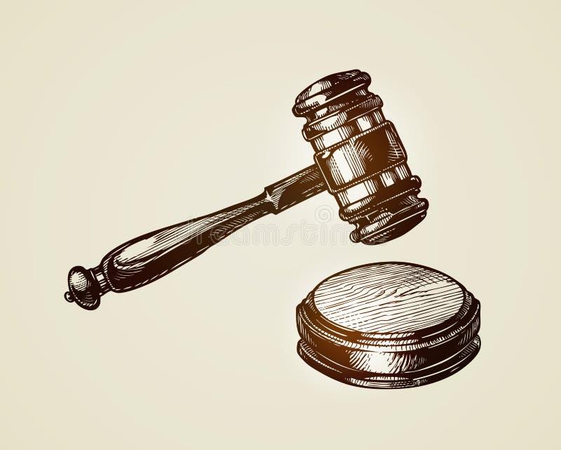 Gavel, hammer of judge or auctioneer. Sketch vector illustration vector illustration