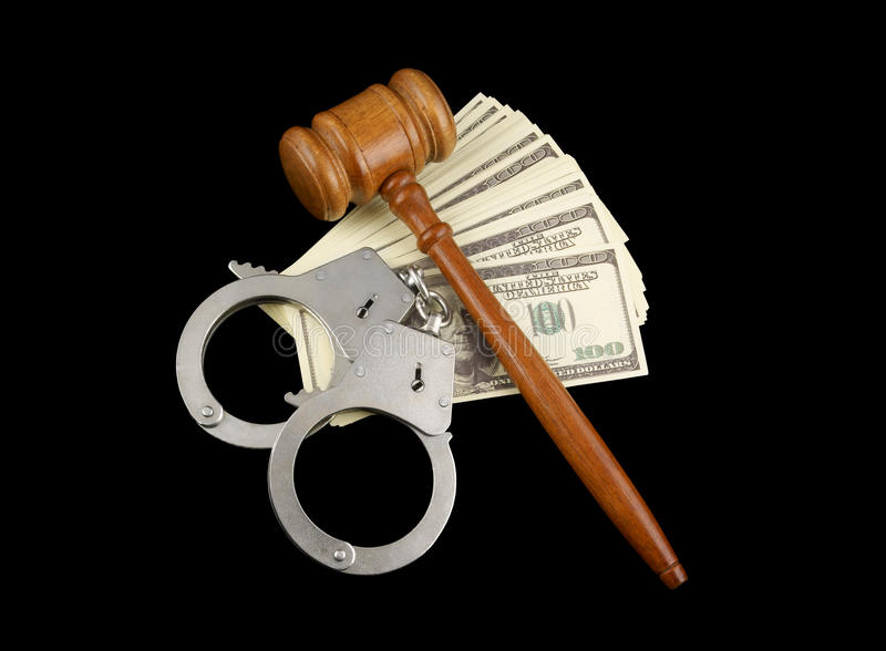 Gavel, handcuffs and money royalty free stock photos