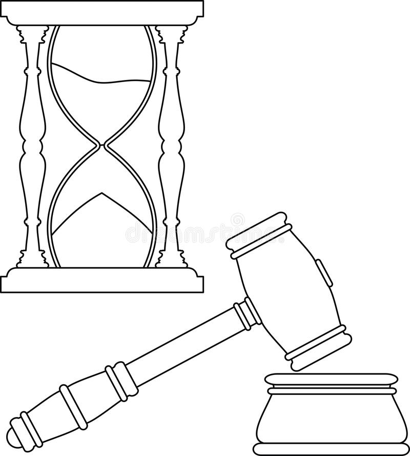 Gavel And Hourglass Contour Stock Images