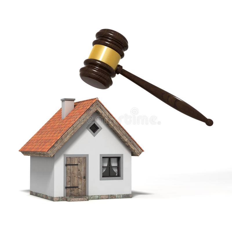 Gavel and house royalty free illustration