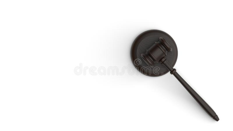 Gavel isolated on white background. Law theme, mallet of judge, wooden gavel. 3d rendering stock image