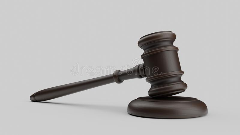 Gavel isolated on white background. Law theme, mallet of judge, wooden gavel. 3d rendering stock photo