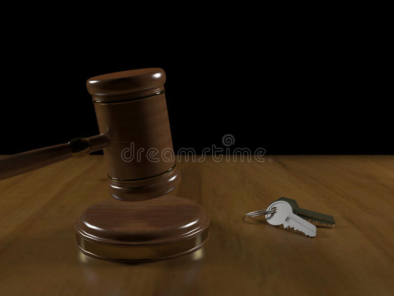 Gavel and keys stock photography