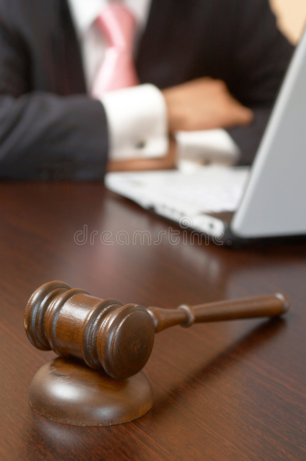 Gavel and laptop