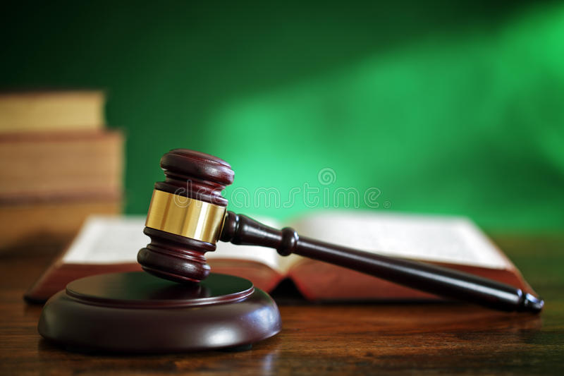 Gavel and law books royalty free stock photography
