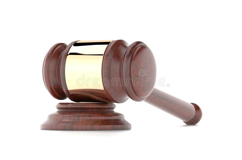 Gavel. Law court or auction house accessory. 3d rendering illustration isolated. On white background stock illustration