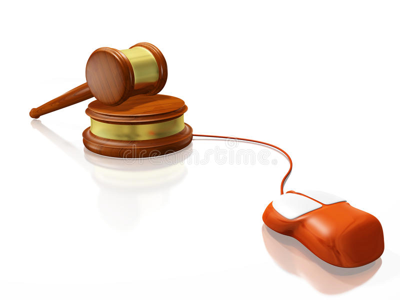 Gavel Mallet and Computer Mouse. A 3D illustration of a computer mouse connected to a wooden judge's mallet or gavel, resting on its block. Ideal for use in vector illustration